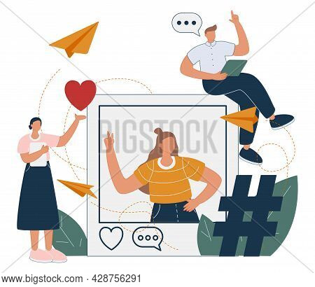 Illustration Of A Selfie Woman In A Social Profile Frame, Followers With Phones In Their Hands Are S