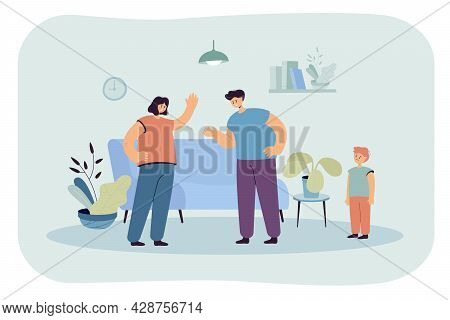 Angry Husband And Wife Sorting Things Out In Front Of Child. Flat Vector Illustration. Sad Little So