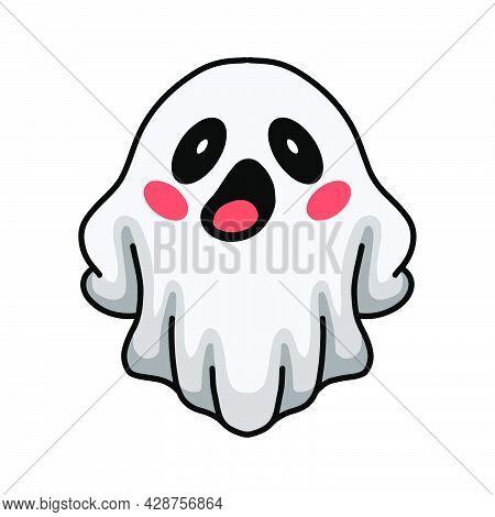Vector Illustration Of Cartoon Cute Halloween White Ghost Posing
