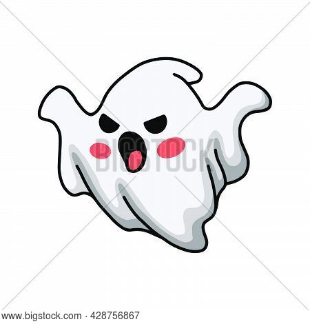 Vector Illustration Of Cartoon Scary Halloween White Ghost