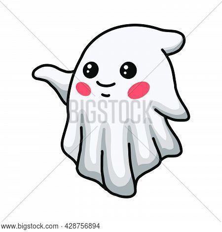 Vector Illustration Of Cartoon Cute Halloween Ghost Waving Hand