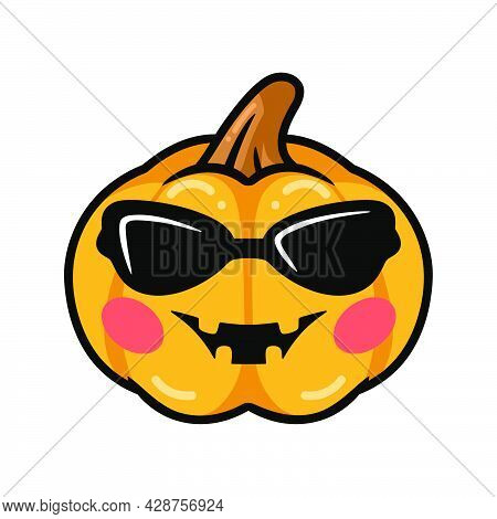 Vector Illustration Of Cartoon Orange Pumpkin With Sunglasess And Happy Face Expression