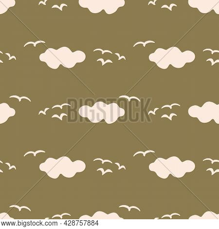 Seamless Background Cloud Sky With Bird Gender Neutral Pattern. Whimsical Minimal Earthy 2 Tone Colo