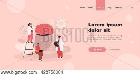 Tiny People Learning Artificial Intelligence Flat Vector Illustration. Cartoon Scientists Standing N