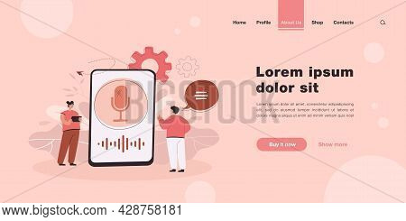 Cartoon People Using Function Of Voice Assistant. Flat Vector Illustration. Giant Smartphone Interfa