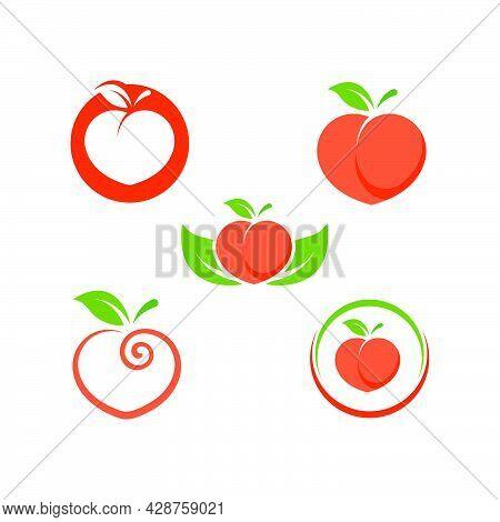 Peach Fruit Icon Vector Illustrtion Design