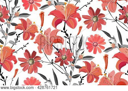 Vector Floral Seamless Pattern. Red Lilies, Daylilies, Wormwood, Quinoa, Grey Leaves.