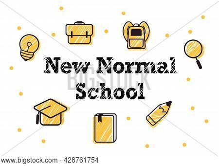 New Normal School Yellow Icons Likes Pencil, Books, Bag, Lamp And Magnifying Glass In White Backgrou
