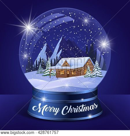 Christmas Winter Landscape Globe With Snow House Forest Mountains And Stars Inside Isolated Vector I