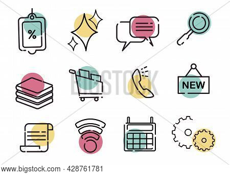 On Line Shopping Icon Likes Calculator, Phone, Basket, Notes, Price List That Colored Yellow Green A