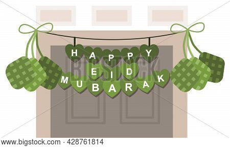 Happy Eid Mubarak Which Color Green With The Door As Background Is Suitable For Card Vector Illustra