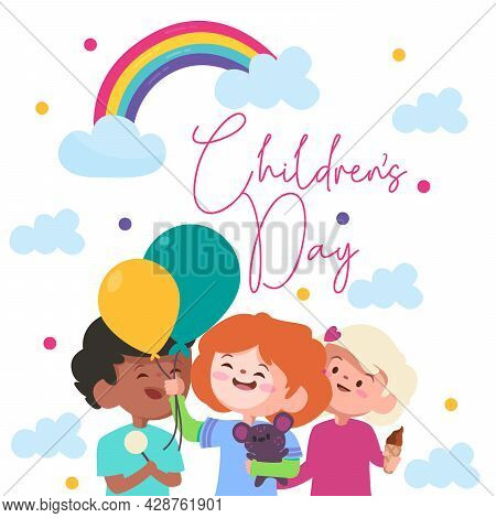 Celebration Of Children Day With Colorful Rainbow With The Blue Clouds And Three Kids With Green And