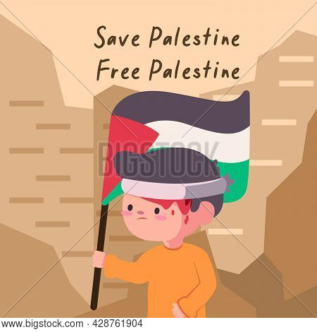 Child With Flag Of Save Palestine And Free Palestine That Colored Black White Green And Red In The B
