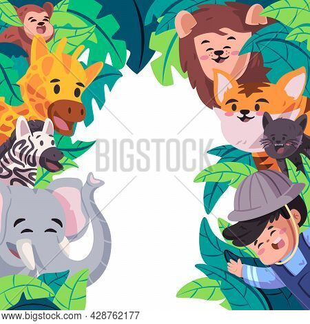 The Jungle Template Design Frame With Motif Animal In The Zoo Likes Elephant Tiger Giraffe Lion Chee
