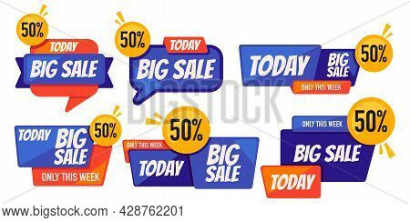 Blue Orange Big Sale Promo Banner Wholesale Fifty Percent Off Only Today And This Week