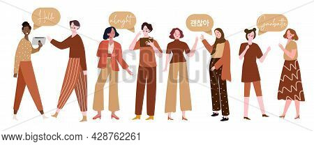 Some Woman From Multi Ethnic In A Community With Brown Dress Are Learning Multi Language Vocabulary