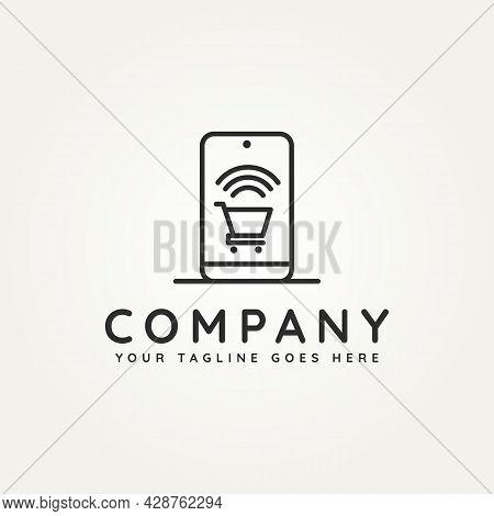 Online Shop Gadget Concept Minimalist Line Art Icon Logo Template Vector Illustration Design. Simple
