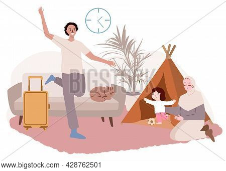 Dad Coming Home With Suitcase Then Play Brown Tent With His Daughter , And Wife, He Looks Likes Happ