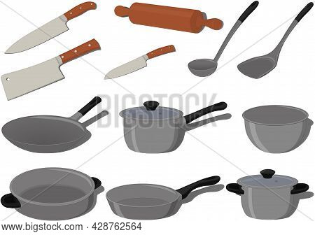 Kitchen Cooking Supplies Cookware Collection Vector Illustration