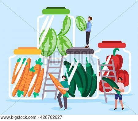 Any Various Homemade Pickles Fermentation Vegetable In A Jar Likes Orange Carrots, Green Chilies, Re