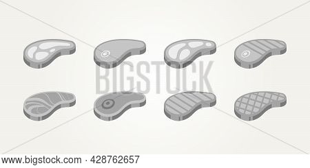 Set Of Raw Meat And Grilled Beef Steak Flat Icons Vector With Grey And Classic Theme Illustration De