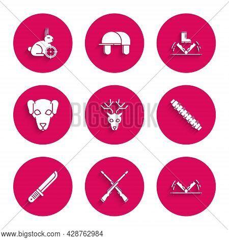 Set Deer Head With Antlers, Two Crossed Shotguns, Trap Hunting, Hunting Cartridge Belt Cartridges, H