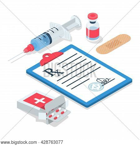 Blister Pills, Syringe With Ampoule Issued By Prescription. Clipboard With A Pen. Medical Rx Prescri