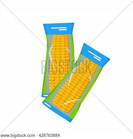 Instant Corn On The Cob, Vacuum Packed. Summer And Autumn Harvest, Delicious Prepared Food. Source O