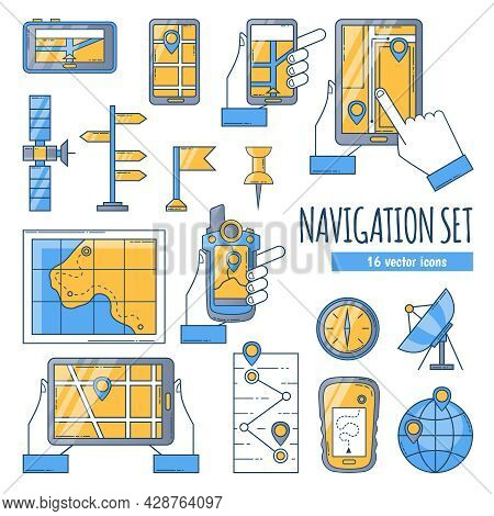 Navigation Flat Color Icons Set With Map Compass Satellite Dish And Navigation App On Mobile Screen