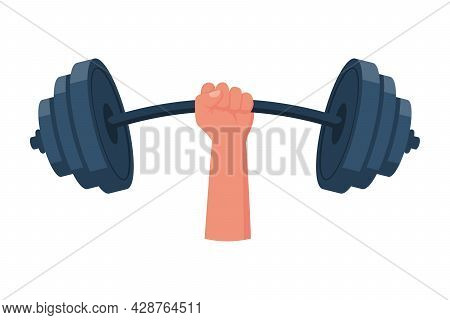 Strong Concept. Barbell In Hands Icon. Hand Of Man Holding A Dumbbell. Vector Illustration Flat Desi