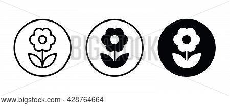Flower Icons Button, Vector, Sign, Symbol, Logo, Illustration, Editable Stroke, Flat Design Style Is