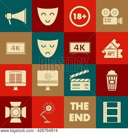 Set Play Video, Popcorn In Cardboard Box, Cinema Ticket, Under 18 Years, Drama Theatrical Mask, Lapt