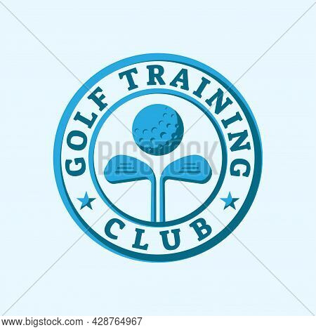 Golf Training Club Stamp Seal Emblem Logo With Stars, Ball And Stick Shape Design Element.  Vector D