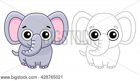 Coloring Animal For Children Coloring Book. Funny Elephant In A Cartoon Style. Trace The Dots And Co