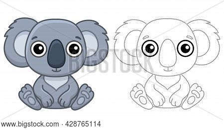 Coloring Animal For Children Coloring Book. Funny Koala In A Cartoon Style. Trace The Dots And Color