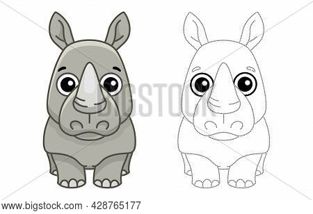 Coloring Animal For Children Coloring Book. Funny Rhino In A Cartoon Style. Trace The Dots And Color