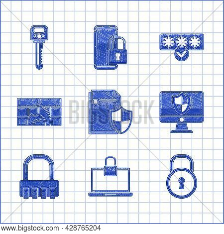 Set Document Protection Concept, Laptop And Lock, Lock, Computer Monitor Shield, Safe Combination, F