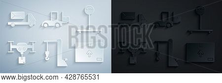 Set Harbor Port Crane, Scale, Delivery Drone With The Package, Cardboard Box Traffic Symbol, Forklif