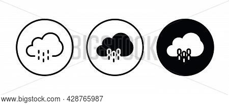 Rain Icon Button, Vector, Sign, Symbol, Logo, Illustration, Editable Stroke, Flat Design Style Isola