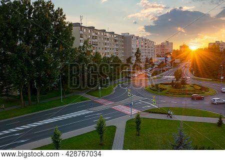 Poprad, Slovakia - Aug 26, 2016: Cityscape Of Slovakian Town In Tatra Mountans At Sunset. Popular Tr