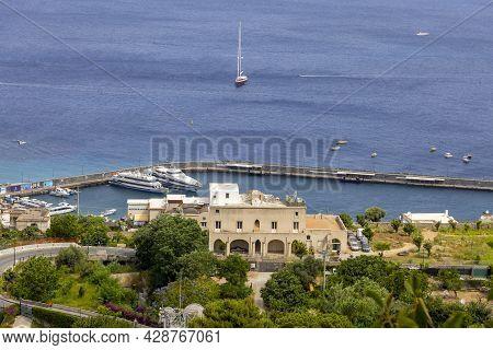 Capri Island, Naples, Italy - June 28, 2021: Aerial View Of  Marina Grande The Main Port On The Isla
