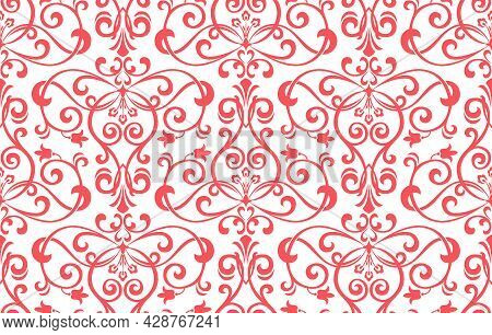 Wallpaper In The Style Of Baroque. Seamless Vector Background. White And Pink Floral Ornament. Graph