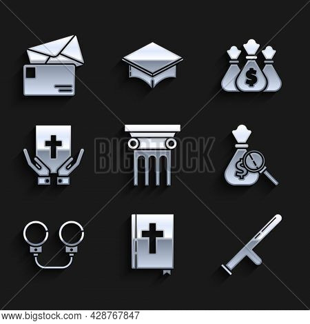 Set Law Pillar, Holy Bible Book, Police Rubber Baton, Money Bag And Magnifying Glass, Handcuffs, Oat