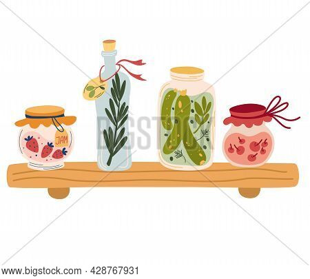 Shelf With Jam And Various Jars. Glass Jars With Compotes, Pickles, Jam And Olive Oil. Concept Of Ha