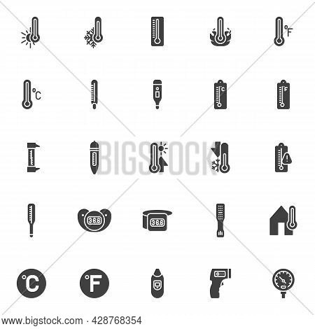 Thermometer Temperature Vector Icons Set, Modern Solid Symbol Collection, Filled Style Pictogram Pac