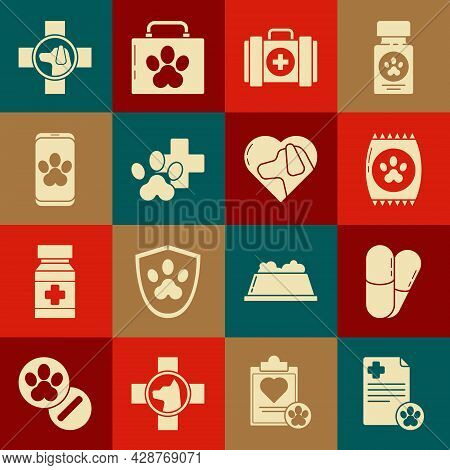 Set Clipboard With Medical Clinical Record Pet, Dog And Pills, Bag Of Food For, Pet First Aid Kit, V