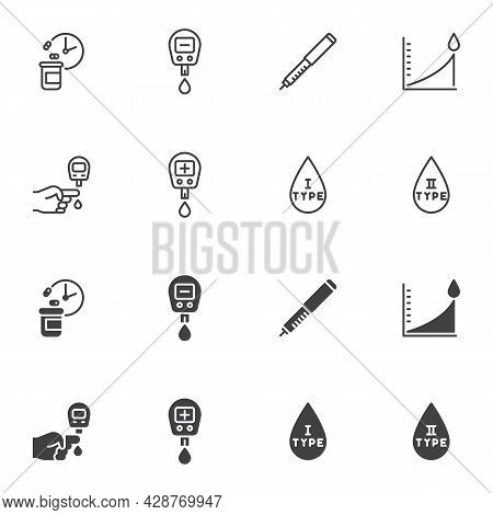 Diabetes Type Icon Set, Line And Glyph Version, Outline And Filled Vector Sign. Diabetes Mellitus Li