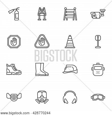 Work Safety Equipment Line Icons Set, Outline Vector Symbol Collection, Linear Style Pictogram Pack.