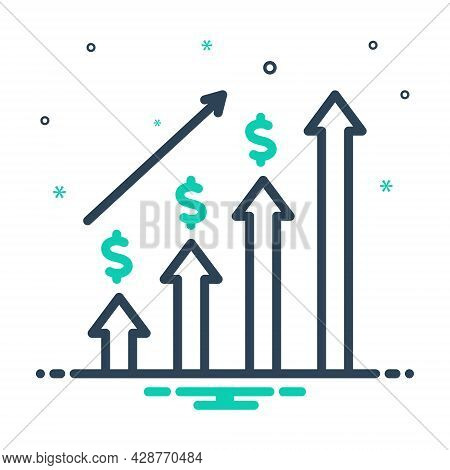 Mix Icon For Economic-investment Graph Progress Budgetary Monetary Commercial Fiscal Venture Expense
