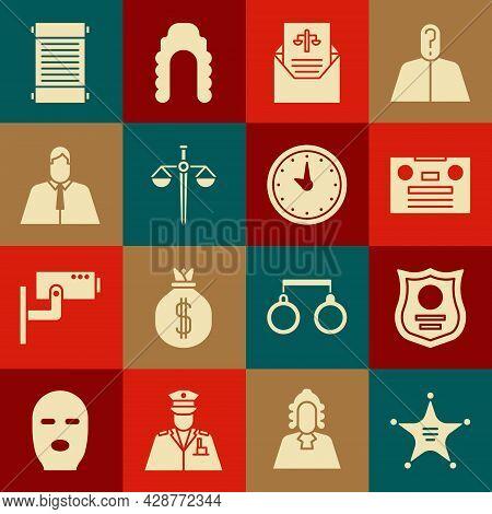 Set Hexagram Sheriff, Police Badge, Retro Audio Cassette Tape, Subpoena, Scales Of Justice, Lawyer,